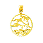 14k gold three dolphins circled medallion