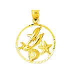 14k gold two dolphins circled medallion