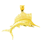 14k gold 70mm 3d sailfish charm pendant