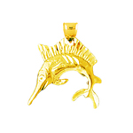 14k gold 3d sailfish charm
