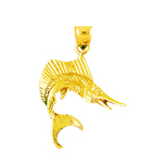 14kt gold 3d sailfish pendant