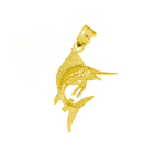 14k gold sealife sailfish charm pendant