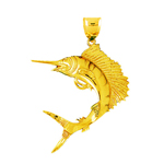 14k gold 48mm sailfish charm pendant