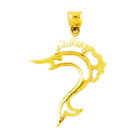 14k gold cut-out sailfish pendant