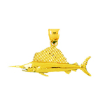 14k gold 36mm sailfish pendant