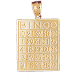 14k gold bingo card pendant