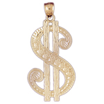 14k gold dollar sign charm pendant
