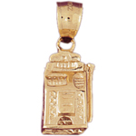 14k gold 3d slot machine charm