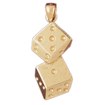 14k gold pair of dice charm pendant