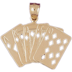 14k gold diamonds royal flush playing cards charm pendant