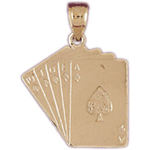 14k gold spades royal flush playing cards charm