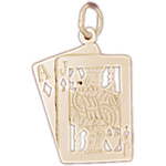 14k gold cutout black jack charm