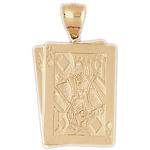14k gold ace king of diamonds charm pendant