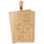 14k gold ace queen of clubs charm pendant