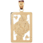 14k gold cutout queen of hearts charm pendant