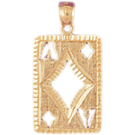 14k gold cutout ace of diamonds charm