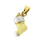 14kt two tone gold christmas stocking charm