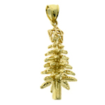 14k gold 3d christmas tree with star charm pendant