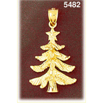 14k gold christmas tree charm pendant