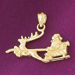 14k gold 3d santa claus with reindeer sleigh charm