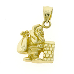 14k gold 3d santa claus and bag of toys charm