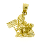 14k gold 3d santa claus and north pole charm