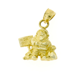 14k gold 3d north pole sign and santa claus charm