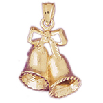 14k gold christmas bells with bow charm pendant