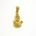 14k gold 3d christmas snowman with tie charm