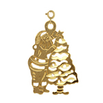 14k gold cutout santa claus with christmas tree charm