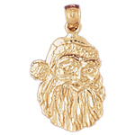 14k gold 21mm santa claus face charm pendant
