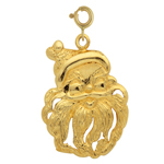 14k gold 20mm santa claus face charm pendant