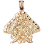 14k gold pirate charm pendant