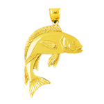 14k gold 38mm fish charm pendant