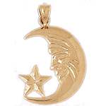 14k gold crescent moon with star pendant