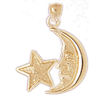 14k gold crescent moon face with star charm