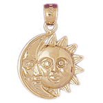 14k gold sun and moon charm pendant