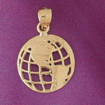 14k gold world globe charm