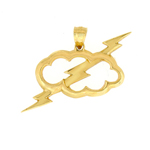 14k gold thunderbolt through cloud charm pendant