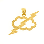 14k gold thunderbolt with cloud charm pendant