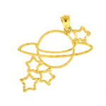 14k gold outlined celestial charm pendant