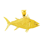 14k gold 46mm tuna pendant