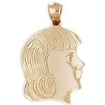 14k gold girl face charm pendant