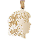 14k gold teen girl face charm pendant