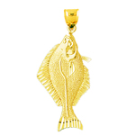 14k gold halibut pendant