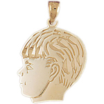 14k gold teen boy face charm pendant