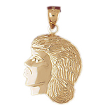 14k gold female head charm pendant