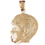 14k gold male head charm pendant