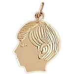 14k gold 14mm boy face charm