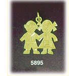 14k gold twin boy and girl charm pendant